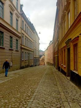 Cobblestone street Stockholm.