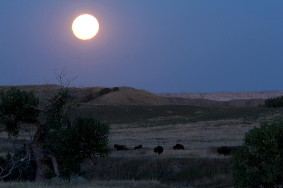 Full moon over the Badlands National Park